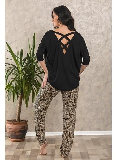 Lingabooms Leopar Desenli Çapraz Atkılı Pijama Takım Siyah
